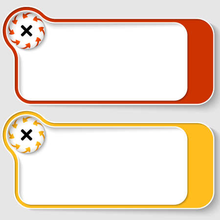set of two abstract text boxes with arrows and ban sign
