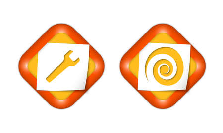 coil: set of two icons with paper and spanner and spiral