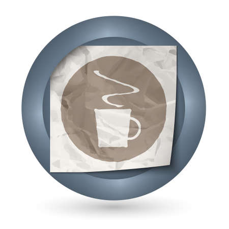 intermission: dark abstract icon with crumpled paper and cup of coffee