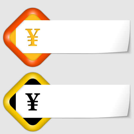 set of two icons with paper on note and yen sign Vector