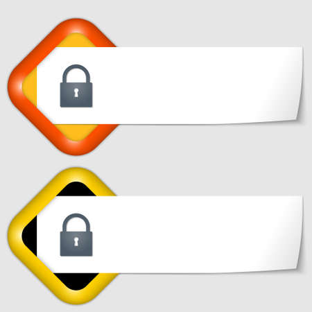 insertion: set of two icons with paper on note and padlock