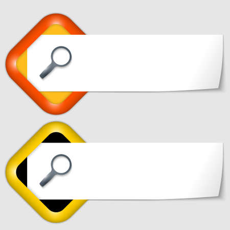 insertion: set of two icons with paper on note and magnifier Illustration