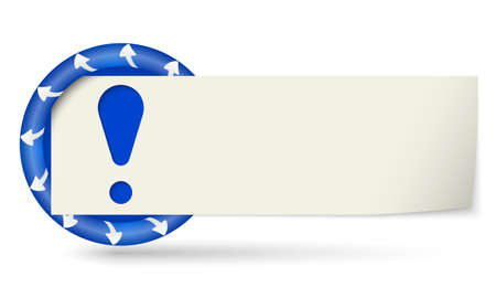 note of exclamation: blue round with arrows and paper on note and exclamation mark