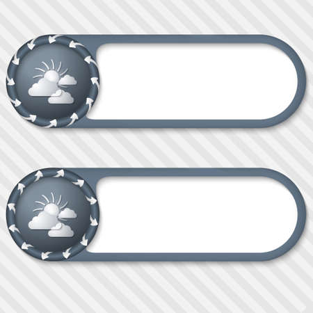 suns: set of two vector buttons with arrows and sun and clouds