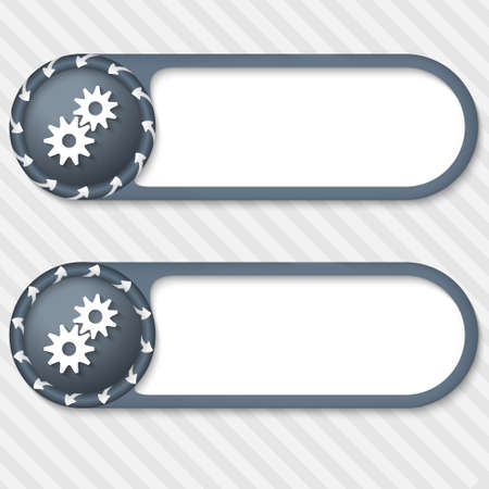 set of two vector buttons with arrows and cogwheels Vector