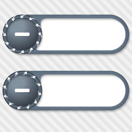 set of two vector buttons with arrows and minus sign
