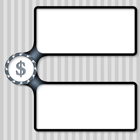 double page: double box for entering text with arrows and dollar sign
