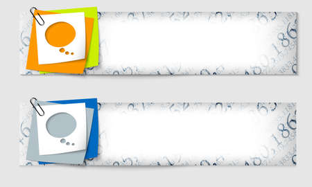 set of two banners with the texture of the numbers and speech bubble Vector