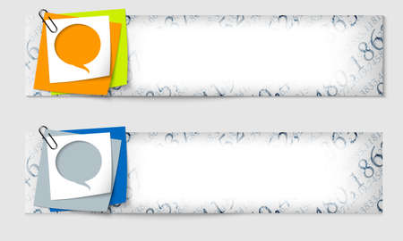 math set: set of two banners with the texture of the numbers and speech bubble Illustration