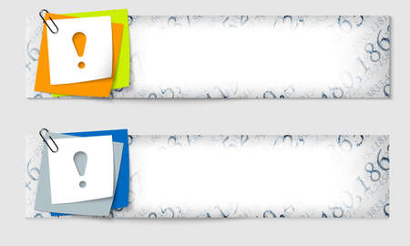 set of two banners with the texture of the numbers and exclamation mark Vector