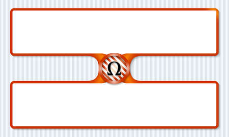 alphabet greek symbols: two boxes for entering text with omega symbol Illustration