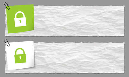 set of two banners with crumpled paper and padlock Vector