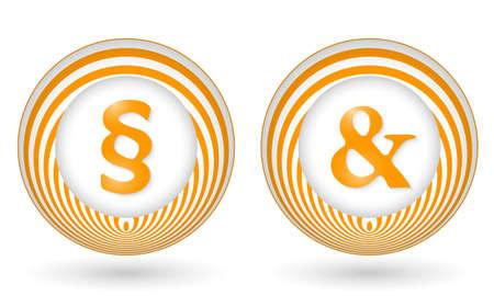 annular: set of two orange icons with symbols