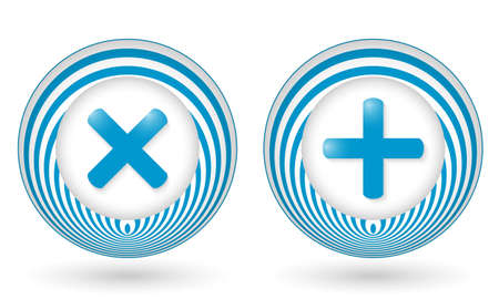 interdict: set of two blue icons with symbols Illustration