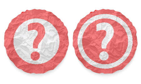 annular: two icons with texture crumpled paper and question mark