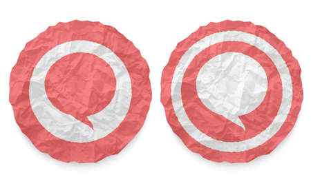 annular: two icons with texture crumpled paper and speech bubble Illustration