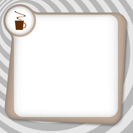 brown box: brown box for entering text with cup of coffee Illustration