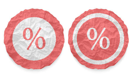 annular: two icons with texture crumpled paper and percent symbol Illustration