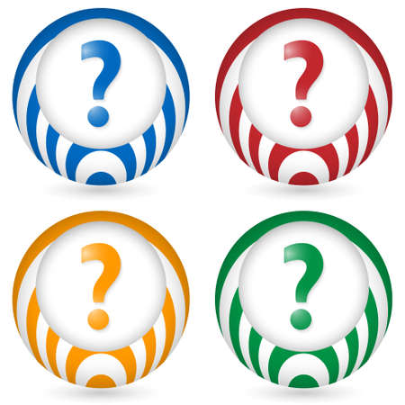 annular: set of four icon with question mark Illustration
