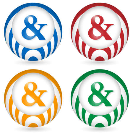set of four icon with ampersand Vector