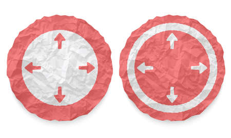 annular: two icons with texture crumpled paper and arrows