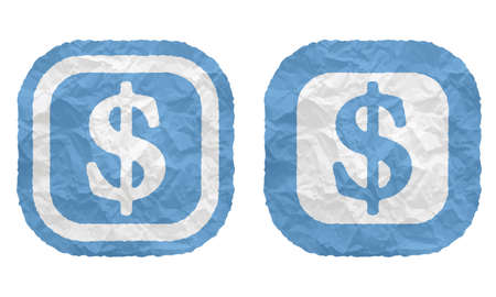 annular: two frames with texture crumpled paper and dollar symbol