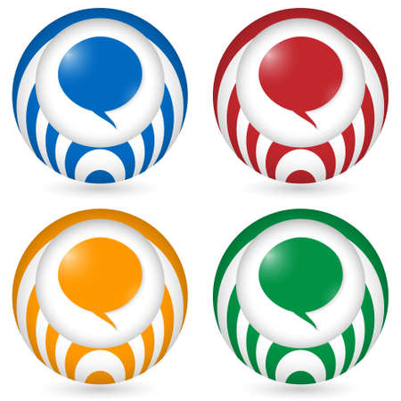 annular: set of four icon with speech bubble Illustration