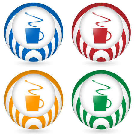 annular: set of four icon with cup of coffee