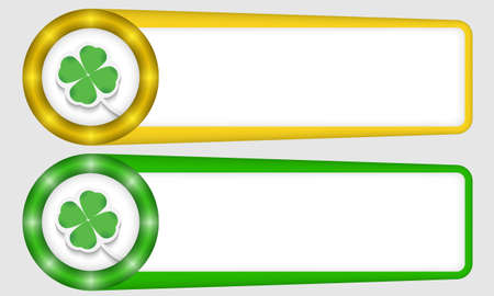 yellow and green frames for any text with cloverleaf Vector