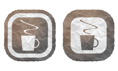 intermission: two frames with texture crumpled paper and cup of coffee