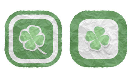 cloverleaf: two frames with texture crumpled paper and cloverleaf