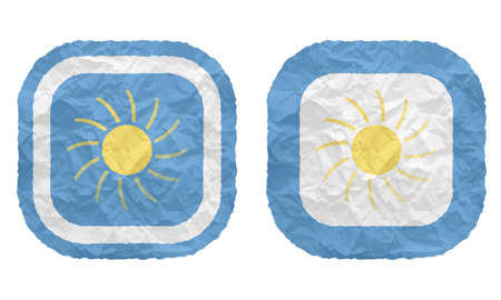 annular: two frames with texture crumpled paper and clouds and sun