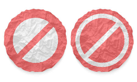 interdict: two icons with texture crumpled paper and ban symbol Illustration