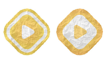 annular: two frames with texture crumpled paper and play symbol Illustration