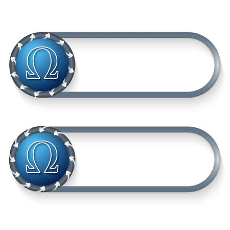 alphabet greek symbols: set of two buttons with arrows and omega symbol