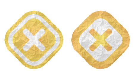 multiplication: two frames with texture crumpled paper and multiplication symbol