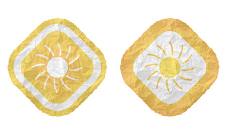 annular: two frames with texture crumpled paper and sun