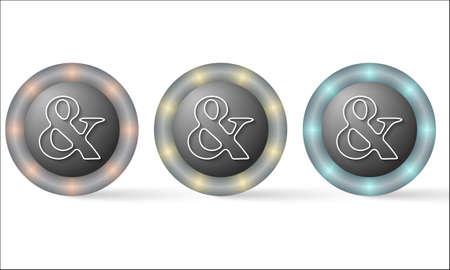 annular: set of three icons with ampersand symbol Illustration