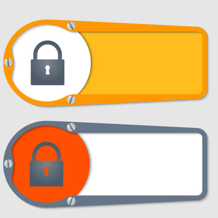 set of two boxes for any text with padlock Vector