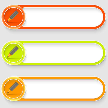 set of three vector abstract buttons with pencil Vector