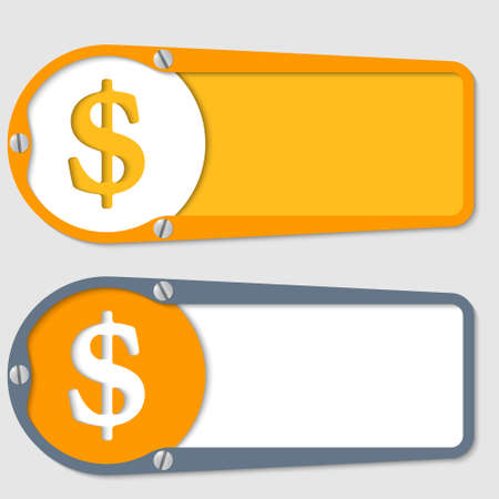 set of two boxes for any text with dollar symbol Vector