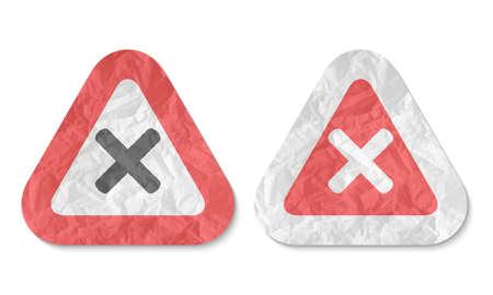 multiplicacion: tri�ngulos con una textura de papel arrugado y s�mbolo de multiplicaci�n Vectores