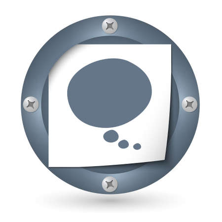annular: dark abstract icon with paper and speech bubble Illustration