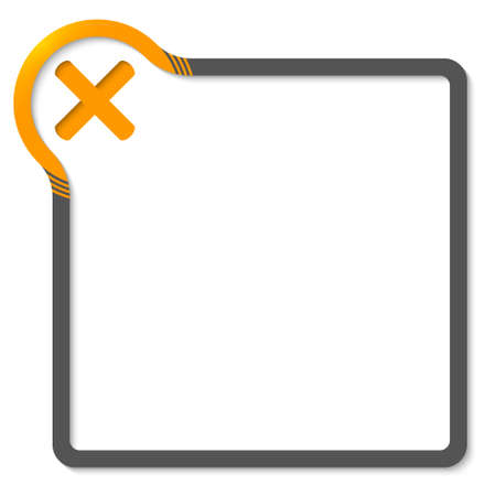 multiplication: frame for text with yellow corner and multiplication symbol Illustration