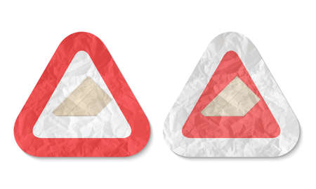 triangles with a texture of crumpled paper and envelope Vector