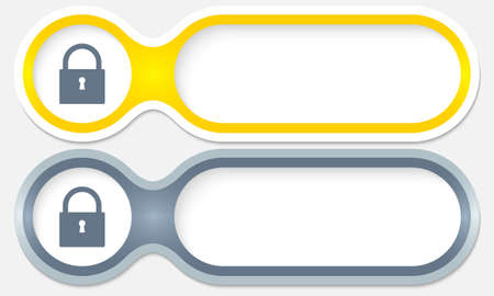 two buttons for entering text with padlock Vector