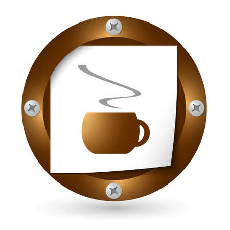 intermission: brown abstract icon with paper and cup of coffee Illustration
