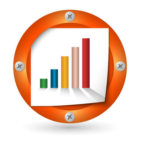 annular: orange abstract icon with paper and graph Illustration