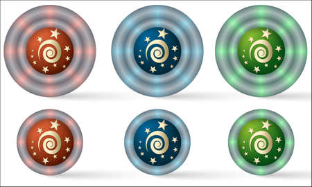 helix border: set of six icons with spiral symbol