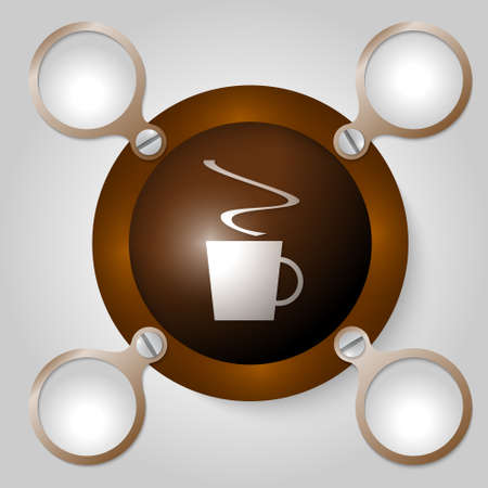 intermission: brown circular frame for text and cup of coffee